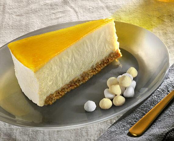 Fetta cheesecake mango e albicocca