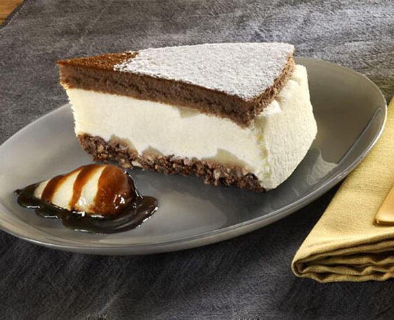 Fetta cheesecake ricotta e pere