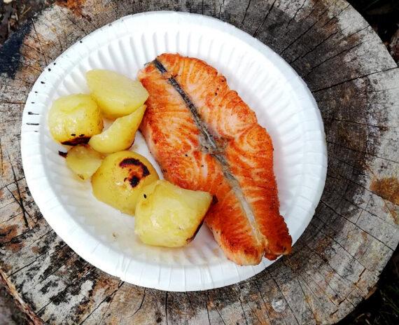 Trancio di salmone con pelle